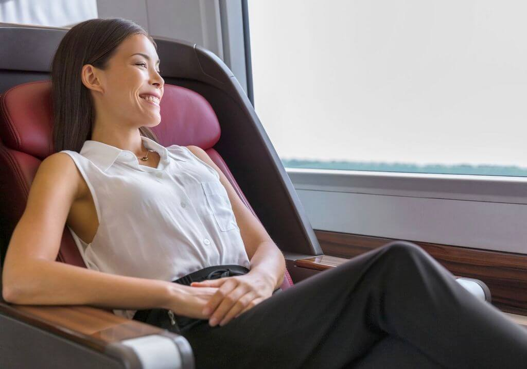 Business class travel solo female traveler RF
