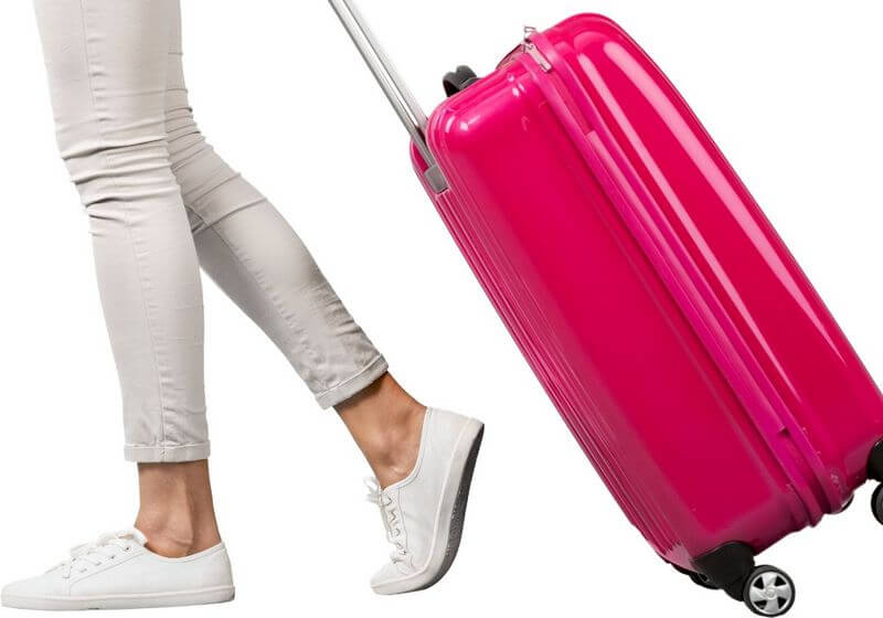 Woman pink luggage suitcase RF